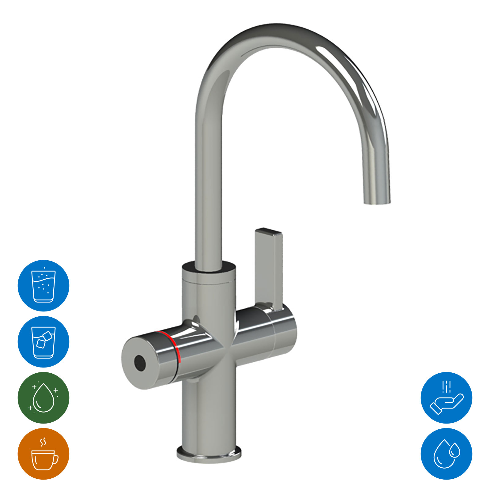 Multifunctional faucet with electronic push/turn knob for controlling the conditioned water undersink unit and hybrid function