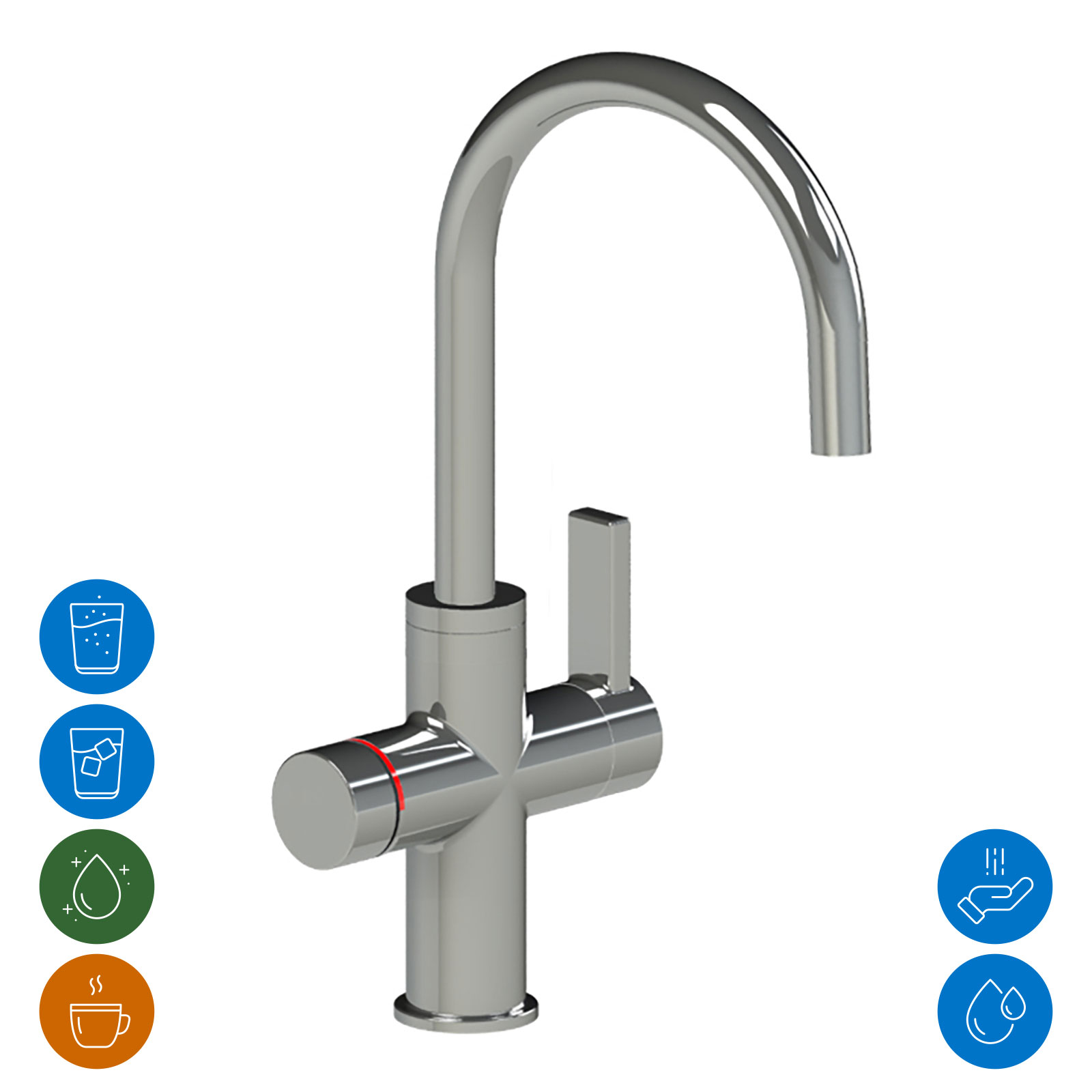 Multifunctional faucet with electronic push/turn knob